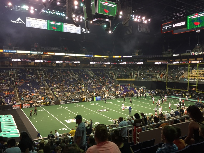 Then to downtown Phoenix and randomly decided to watch an AFL game! Arena Football League. Basically indoor football with the same rules, but only half the size of a normal field.