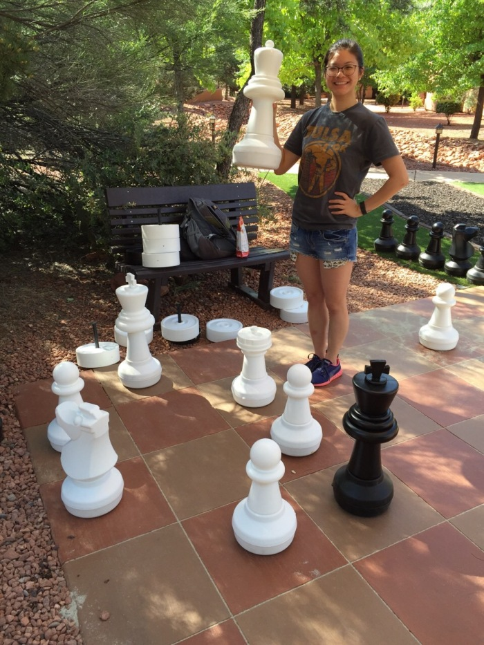 So first off, in the morning as we were packing up the car getting ready to drive to Page, AZ. Brian locked the keys in the trunk. So had to wait for help. While we waited, played a game of semi-ilfe sized chess. I won :)