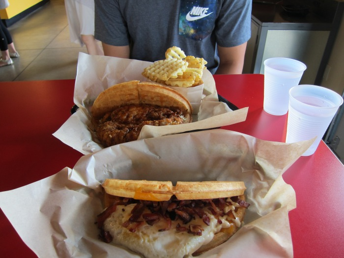 Next morning we got some breakfast at Bruxie's. Waffle sandwiches! Was so delicious. And then, off we go to San Diego!