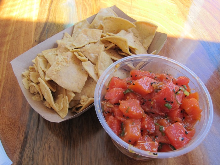 And of course, more poke! After a day in the sun and being thrown around by the waves, more poke from Bear Flag. We got 1lb of salmon and tuna. It was a lot.