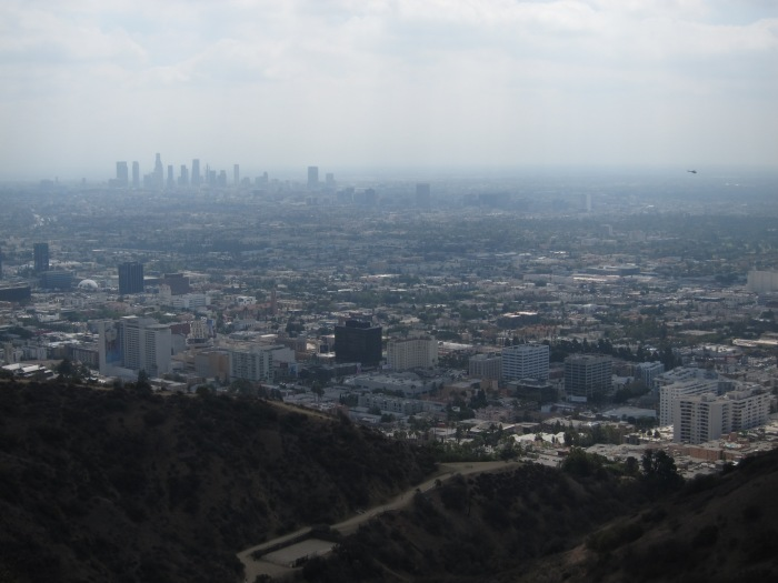 Downtown LA in the distance through all that smog.