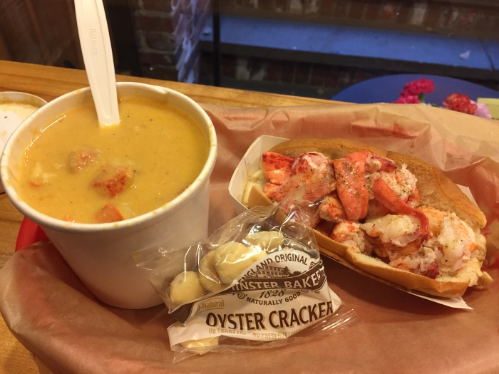 Lobster roll and lobster bisque dinner at Luke's Lobster! Quarter pound of lobster in that tiny roll. But oh so good! Definitely recommend.