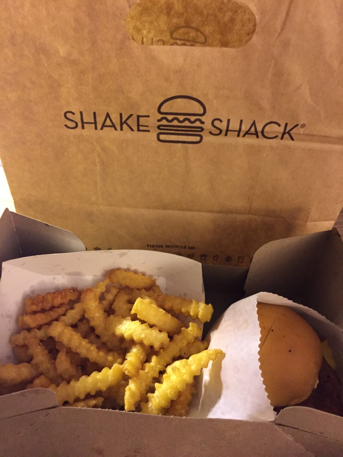 Midnight snack. Shake Shack is so delicious and I'm so excited they're opening one up in Dallas soon! The fries are perfect. Crispy on the outside and soft and potato-y on the inside. And the burger is great. Crispy bacon and that shack sauce!!!! UGH! Better than In-n-Out.