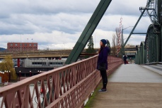 Walking across Hawthorne Bridge