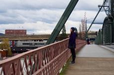 Walking across Hawthorne Bridge